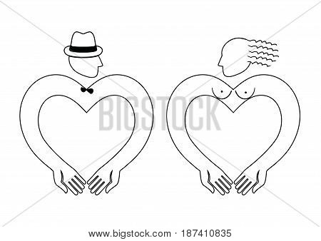Man and Woman Icon Vector heart shaped. Suitable as a picture for toilets and changing rooms