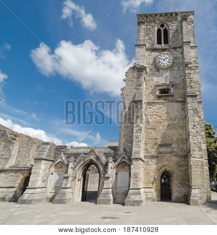 Holyrood church ruins in central Southampton. Built in 1320, the church was destroyed by enemy bombing during the blitz in November 1940