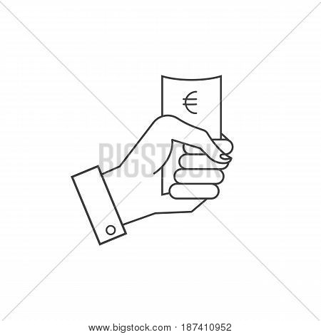 icons, hand holding a paper or money.