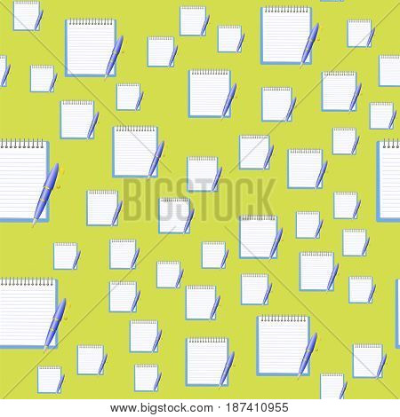 Paper Notebook and Blue Pen Seamless Pattern on Yellow Background