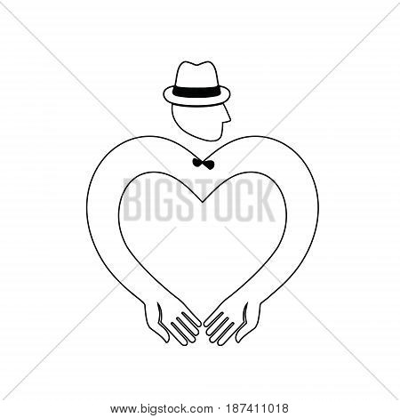 Icon symbol of a male heart. Man's head in the hat with his hands depicting heart. Logo mens club