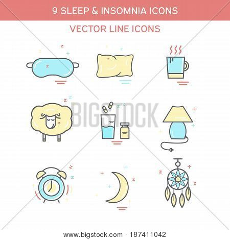 Sleep problems and insomnia symbols. Color icon set in line style.
