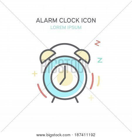 Alarm Clock Color Line Style Icon. Isolated Vector Illustration