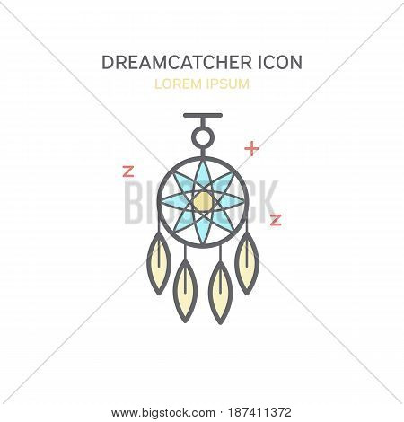 Dreamcatcher color line style icon isolated vector illustration.