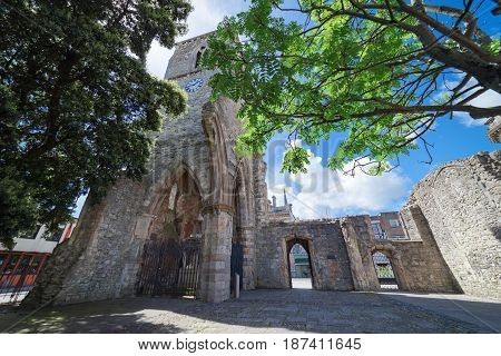 Holyrood church ruins in central Southampton. Built in 1320, the church was destroyed by enemy bombing during the blitz in November 1940.