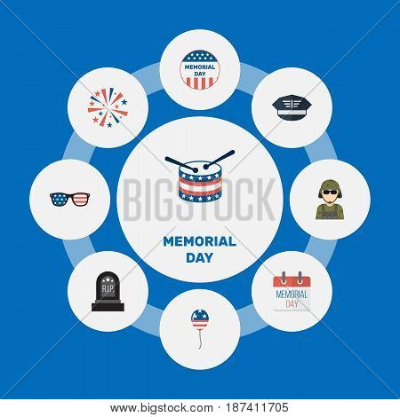 Flat Hat, History, Firecracker And Other Vector Elements. Set Of History Flat Symbols Also Includes Usa, Spectacles, Military Objects.