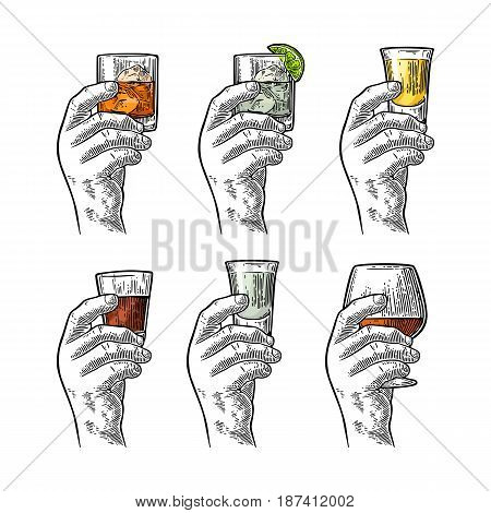 Male hand holding a glass with tequila vodka rum cognac whiskey gin. Vintage color vector engraving illustration for label poster invitation to party and birthday. Isolated on white background