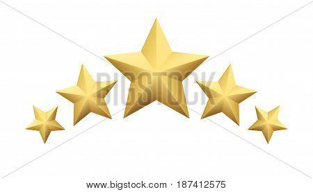 Set of Realistic metallic golden star isolated on white background. Vector illustration EPS10