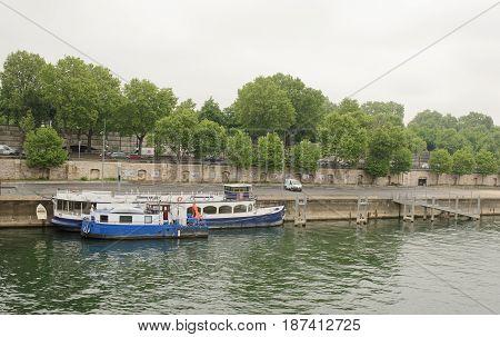 Paris. Ships on the River Seine at the Tolbiac Bridge