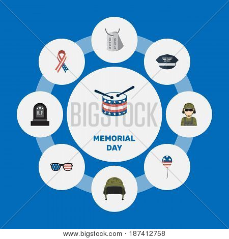 Flat Hat, Military Man, Identity And Other Vector Elements. Set Of Memorial Flat Symbols Also Includes Drum, Glasses, Instrument Objects.