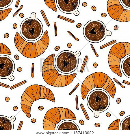 Seamless vector pattern with coffee beans, cinnamon, cup of coffee and croissant. Handdrawn doodle illustration.