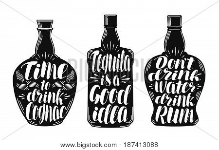 Alcoholic beverages, strong drink label set. Bottle, rum, cognac tequila icon