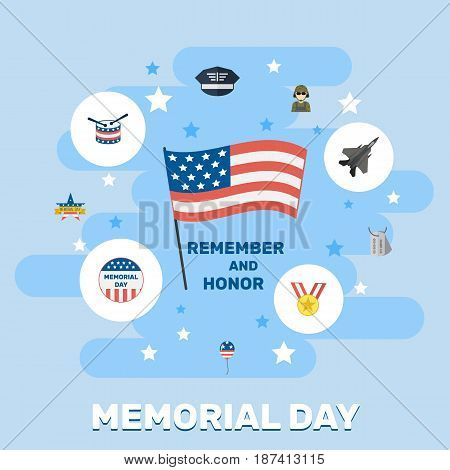 Flat Aircraft, Usa Badge, Identity And Other Vector Elements. Set Of Memorial Flat Symbols Also Includes Tag, Decoration, Army Objects.
