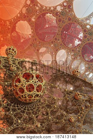 Background with fantastic 3D spheres, abstract design.