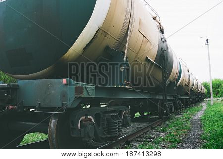 Storage tanks with gas or oil transportation by railroad, oil industry,  perspective view