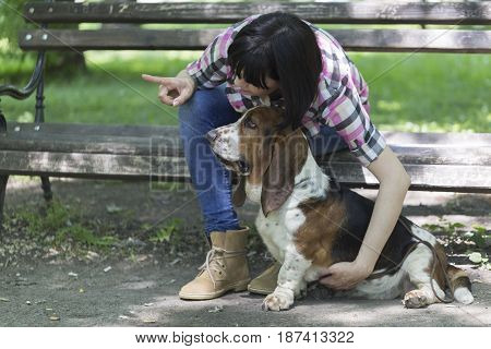 She Loves Dogs. Woman Sits On A Bench In The Park With His Beautiful Dog And Shows Him Which Way To