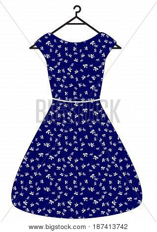 Blue vintage beautiful dress with white leaves and belt vector flat illustration. Isolated on white
