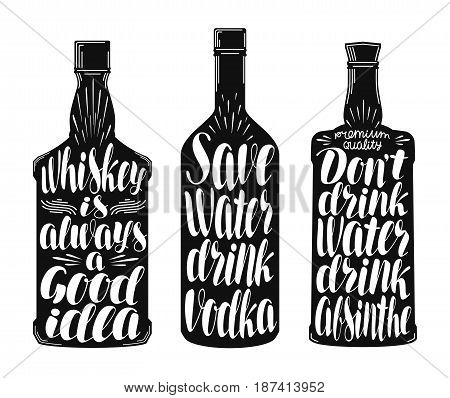 Drinks, alcoholic beverages label set. Whiskey bottle, vodka, absinthe icon or symbol. Handwritten lettering vector illustration isolated on white background