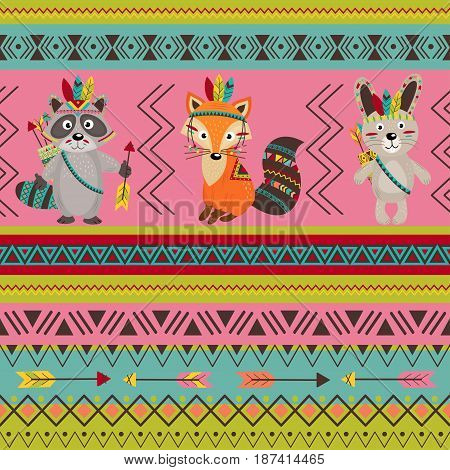 seamless pattern with tribal design - vector illustration, eps