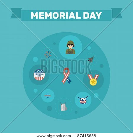 Flat Usa Badge, Awareness, Musical Instrument And Other Vector Elements. Set Of Day Flat Symbols Also Includes Awareness, Identity, Medallion Objects.