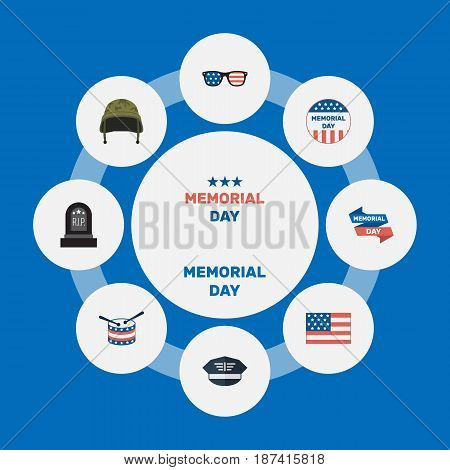 Flat Hat, Musical Instrument, Spectacles And Other Vector Elements. Set Of History Flat Symbols Also Includes Day, Drum, Usa Objects.