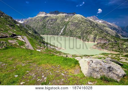 Panoramic Mountain Road Leading To Grimselpass With Grimselsee
