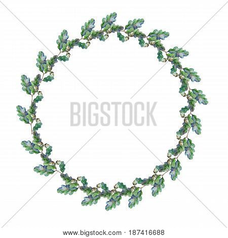 Wreath from an oak tree branch with leaves and an acorn. Isolated on white background. Watercolor illustration.