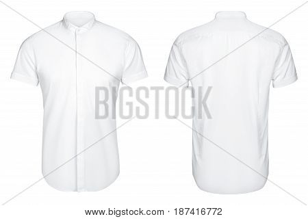 white classic and business shirt, short sleeved shirt, isolated white background