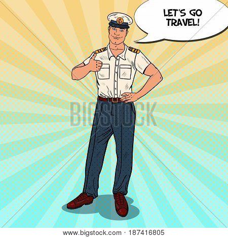 Pop Art Sea Captain Thumb Up. Cruise Vacation. Vector illustration