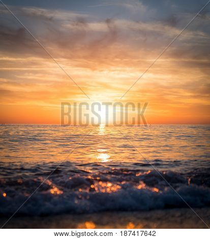 Sunset at sea beach