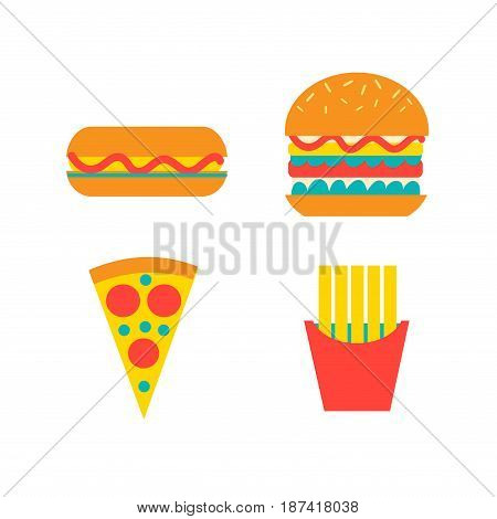 Set of fast food vector food on white background