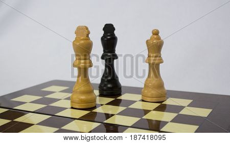 The chess pieces are placed on the chessboard. Checkmate. Chess.