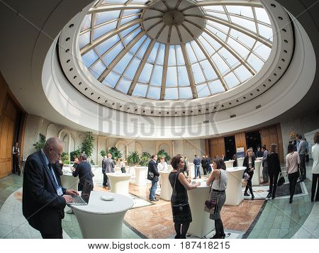 MOSCOW RUSSIA - MAY 18 2017: People at White Hall of the President Hotel in Moscow Russia on May 18 2017. Hotel belongs to the Department of Affairs of the President of the Russian Federation.