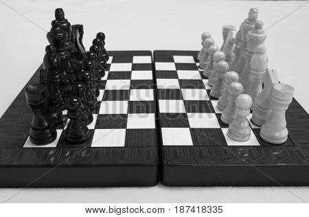 Chess. Beginning of the game.The chess pieces are placed on the chessboard. Black and white.
