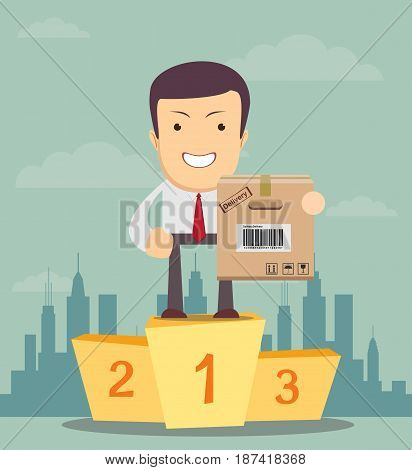 A man in a suit stand on a pedestal and hold a Brown closed carton parcel packaging box with fragile signs and bar code. Vector icon template for shipping, delivery and postal service.