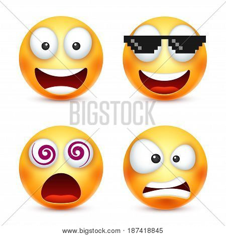 Smiley with pixel glasses, smiling emoticon. Yellow face with emotions. Facial expression. 3d realistic emoji. Funny cartoon character.Mood. Web icon. Vector illustration.