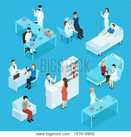 People and healthcare isometric set with doctors patients medical preparation examination treatment consultation pharmacy isolated vector illustration
