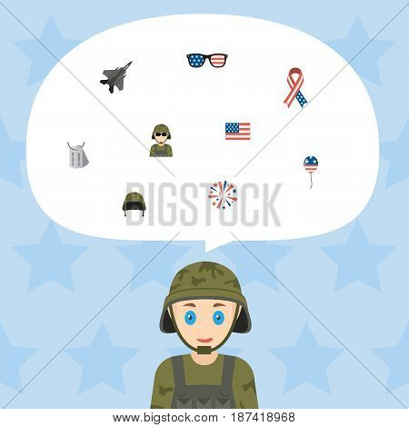 Flat Spectacles, Military Man, Identity And Other Vector Elements. Set Of History Flat Symbols Also Includes Firecracker, Plane, Mom Objects.