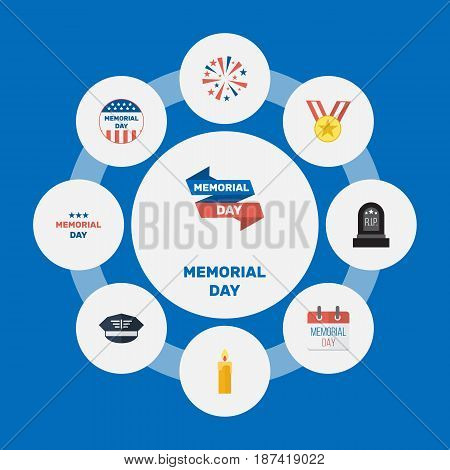 Flat Tomb, Holiday, Hat And Other Vector Elements. Set Of Memorial Flat Symbols Also Includes Day, Fire, Memorial Objects.