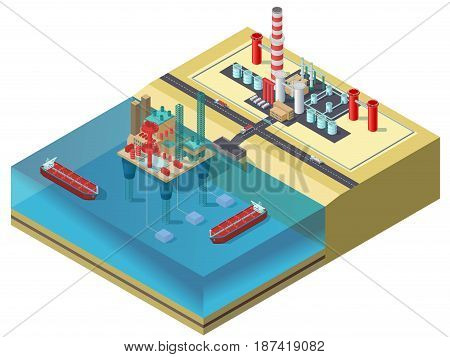 Colorful petroleum industry isometric concept with water oil platform tanker ships trucks and storage area vector illustration