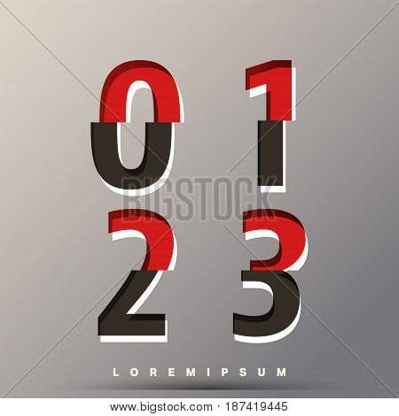 Alphabet font template. Set of numbers 0 1 2 3 logo or icon glitch design. Vector illustration.