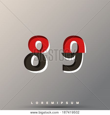 Alphabet font template. Set of of numbers 8 9 logo or icon glitch design. Vector illustration.