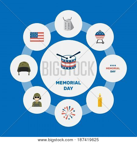 Flat Military Man, Fire Wax, Musical Instrument And Other Vector Elements. Set Of Memorial Flat Symbols Also Includes Flag, Bbq, Banner Objects.