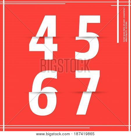 Alphabet font template. Set of numbers 4 5 6 7 logo or icon cutting paper design. Vector illustration.