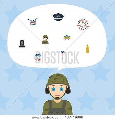 Flat Military Man, Firecracker, Fire Wax And Other Vector Elements. Set Of Day Flat Symbols Also Includes Firecracker, Military, Candle Objects.