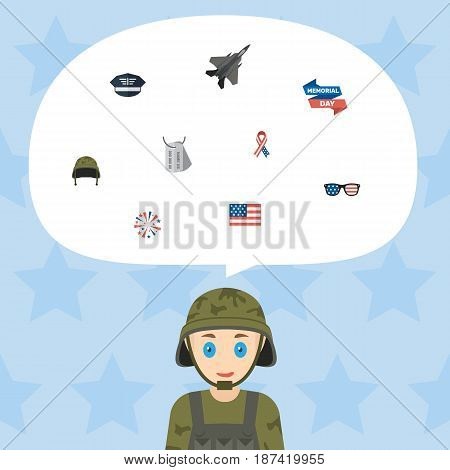 Flat Identity, Spectacles, Awareness And Other Vector Elements. Set Of Memorial Flat Symbols Also Includes Firework, Helmet, Flag Objects.