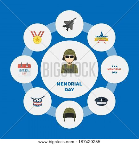 Flat Musical Instrument, Soldier Helmet, Aircraft And Other Vector Elements. Set Of Day Flat Symbols Also Includes Hat, Helmet, Award Objects.