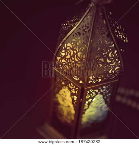 An extreme close up of decorative Ramadan lamp. Abstract image. Ramadan festive background.
