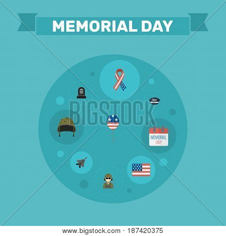 Flat American Banner, Tomb, Military Man And Other Vector Elements. Set Of History Flat Symbols Also Includes Headgear, Mom, Man Objects.