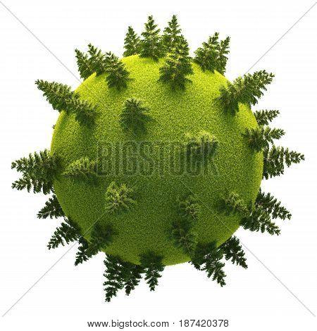 Green 3D Planet Easy Fir Forest
